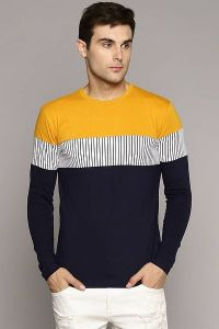 Men's Fashionable and Stylish Color Blocked Printed Cotton Round Neck T-Shirt (Yellow)