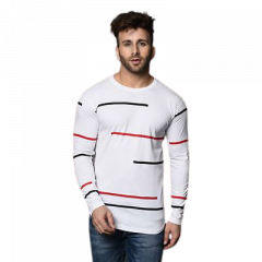 Fashionable and Stylish Printed Cotton Round Neck T-Shirt For Men's and Boys (White)