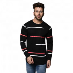 Fashionable and Stylish Printed Cotton Round Neck T-Shirt For Men's and Boys (Black)