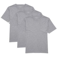 Solid Cotton Round Neck Short Sleeve Casual T-Shirt For Men's (Grey) (Pack of 3)