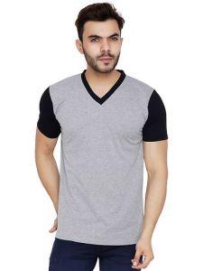 Men's Cotton Blend Self Pattern V-Neck Casual T-Shirt (Grey) (Pack of 1)