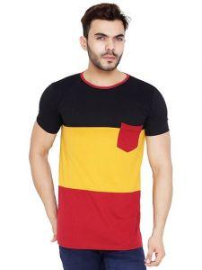 Men's Cotton Blend Color Blocked Round Neck Casual T-Shirt (Multi-Color) (Pack of 1)