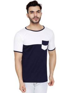 Men's Cotton Blend Color Blocked Round Neck Casual T-Shirt (Navy Blue) (Pack of 1)