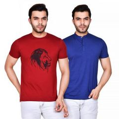Men's Stylish Printed Cotton Round Neck Short Sleeves Casual T-Shirt (Red & Blue) (Pack of 2)