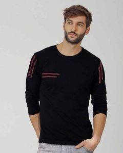 Comfortable and Regular Fit Cotton Blend Self Pattern Round Neck T-Shirt For Men's (Black) (Pack of 1)