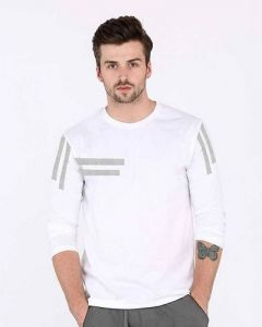 Comfortable and Regular Fit Cotton Blend Self Pattern Round Neck T-Shirt For Men's (White) (Pack of 1)