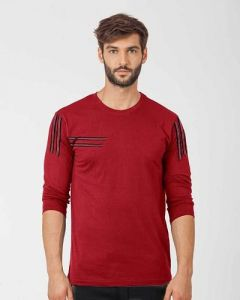 Comfortable and Regular Fit Cotton Blend Self Pattern Round Neck T-Shirt For Men's (Maroon) (Pack of 1)
