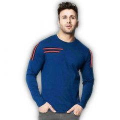 Comfortable and Regular Fit Cotton Blend Self Pattern Round Neck T-Shirt For Men's (Blue) (Pack of 1)