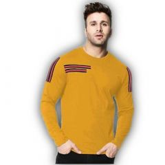Comfortable and Regular Fit Cotton Blend Self Pattern Round Neck T-Shirt For Men's (Golden) (Pack of 1)