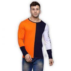 Comfortable and Regular Fit Cotton Blend Color Blocked Round Neck T-Shirt For Men's (Orange & Blue) (Pack of 1)