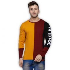 Comfortable and Regular Fit Cotton Blend Color Blocked Round Neck T-Shirt For Men's (Maroon & Yellow) (Pack of 1)