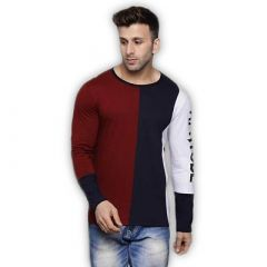 Comfortable and Regular Fit Cotton Blend Color Blocked Round Neck T-Shirt For Men's (Maroon & Navy Blue) (Pack of 1)