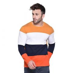 Comfortable and Regular Fit Cotton Blend Color Blocked Round Neck T-Shirt For Men's (Multi-Color) (Pack of 1)