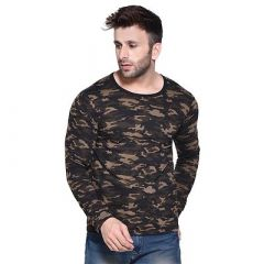 Army Printed Cotton Long Sleeve Round Neck T-shirt for Men's (Multi-Color) (Pack of 1)