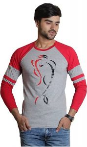 Comfortable and Regular Fit Cotton Blend Printed Round Neck T-Shirt For Men's (Red& Grey) (Pack of 1)