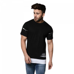 Slim Fit Cotton Solid Printed Round Neck T-Shirt For Men's (Black) (Pack of 1)