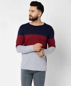 Slim Fit Cotton Color BlockedPrinted Round Neck T-Shirt For Men's (Multi-Color) (Pack of 1)