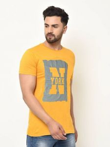 Slim Fit Cotton Printed Short Sleeves Round Neck T-Shirt For Men's (Yellow) (Pack of 1)
