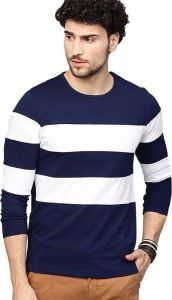Stylish Polycotton Striped Printed Round Neck Full Sleeves Casual T-Shirt for Men's (Multi-Color) (Pack of 1)