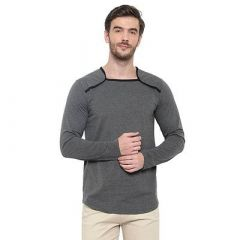 Stylish Solid Cotton Printed Round Neck Casual T-Shirt for Men's (Grey) (Pack of 1)