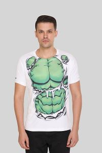 Stylish Polyester Printed Crew Neck Short Sleeves Casual T-Shirt for Men's (White) (Pack of 1)