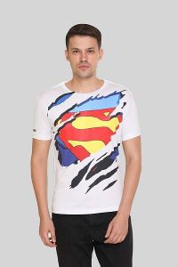 Superman Logo Printed Crew Neck Short Sleeves Casual T-Shirt for Men's (White) (Pack of 1)