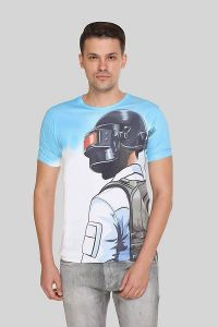 PUBG Printed Crew Neck Short Sleeves Casual T-Shirt for Men's (White) (Pack of 1)