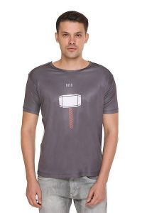 THOR Printed Crew Neck Short Sleeves Casual T-Shirt for Men's (Grey) (Pack of 1)