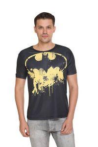BATMAN Printed Crew Neck Short Sleeves Casual T-Shirt for Men's (Black & White) (Pack of 1)