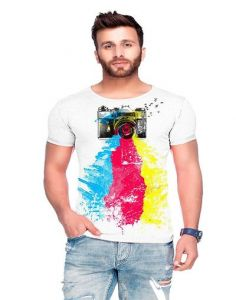 Polyester Blend Printed Crew Neck Short Sleeves Casual T-Shirt for Men's (Multi-Color) (Pack of 1)