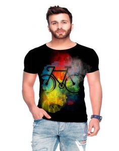 Polyester Blend Printed Crew Neck Short Sleeves Casual T-Shirt for Men's (Black & White) (Pack of 1)