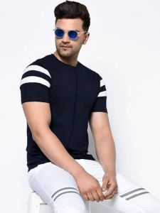 Cotton Printed Round Neck Short Sleeves Casual T-Shirt for Men's (Navy Blue) (Pack of 1)