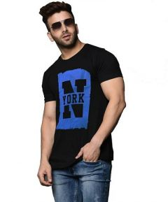 Slim Fit Cotton Printed Short Sleeves Round Neck T-Shirt For Men's (Black) (Pack of 1)