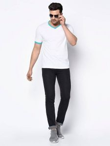 Solid Cotton Printed V-Neck Short Sleeves Casual T-Shirt for Men's (White) (Pack of 1)