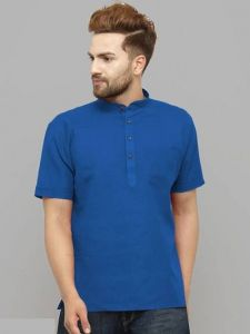 Solid Cotton Printed Short Sleeves Casual Henley T-Shirt for Men's (Blue) (Pack of 1)