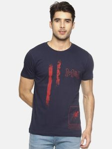 Printed Cotton Round Neck Short Sleeve Casual T-Shirt For Men's (Navy Blue) (Pack of 1)