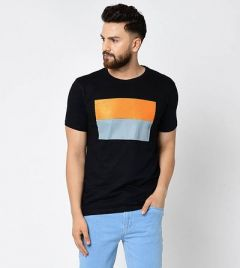 Slim Fit Cotton Printed Short Sleeves Round Neck Ultra Comfy T-Shirt For Men's (Black) (Pack of 1)