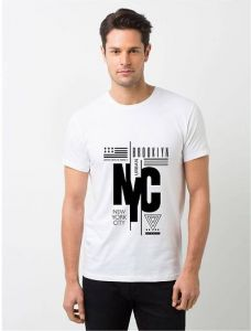 NYC Polyester Printed Round Neck Casual Wear T-Shirt For Men's (White) (Pack of 1)