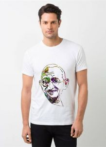 Polyester Gandhi Printed Short Sleeves Casual Wear T-Shirt For Men's (White) (Pack of 1)