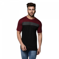 Men's Slim-Fit Cotton Printed Color Blocked Short Sleeves Round Neck T-Shirt (Maroon & Black) (Pack of 1)