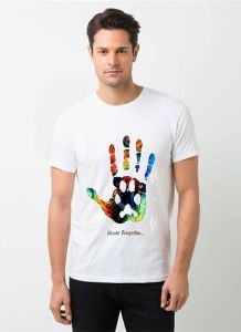 Polyester Hand Printed Short Sleeves Casual Wear T-Shirt For Men's (White) (Pack of 1)