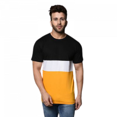 Men's Slim-Fit Cotton Printed Color Blocked Short Sleeves Round Neck T-Shirt (Black & Yellow) (Pack of 1)