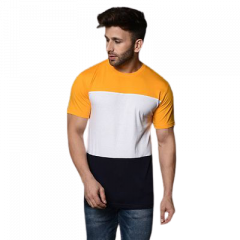 Men's Slim-Fit Cotton Printed Color Blocked Short Sleeves Round Neck T-Shirt (Multi-Color) (Pack of 1)