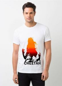 Cheetah Printed and Trendy Polyester Short Sleeves Casual T-Shirt For Men's (White) (Pack of 1)