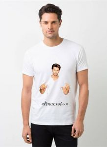 Cool and Stylish Hrithik Roshan Photo Printed Casual T-Shirt For Men's (White) (Pack of 1)