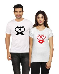Cotton Printed Short Sleeve Casual Couple T-Shirt For Men's & Women's (White) (Pack of 1)