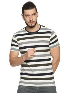Cotton Blend Striped Printed Short Sleeve Casual T-Shirt For Men's (Multi-Color) (Pack of 1)