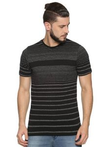 Cotton Blend Striped Printed Half Sleeve Casual T-Shirt For Men's (Black) (Pack of 1)