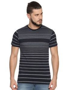 Cotton Blend Striped Printed Half Sleeve Casual T-Shirt For Men's (Navy Blue) (Pack of 1)