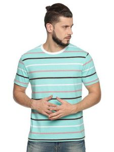 Cotton Blend Striped Printed Half Sleeve Casual T-Shirt For Men's (Blue) (Pack of 1)